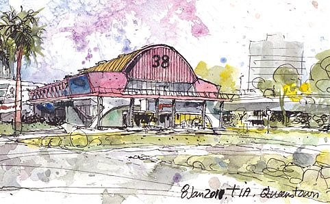 A sketch of the former Margaret Drive Hawker Centre by Urban Sketchers' Tia Boon Sim. Image courtesy of the artist and Epigram Books.