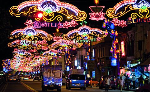 Bright lights along Upper Serangoon Road at 2012's Deepavali.